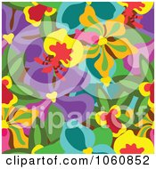 Royalty Free Vector Clip Art Illustration Of An Orchid Flower Pattern