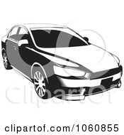 Royalty Free Vector Clip Art Illustration Of A Black And White Lancer Car