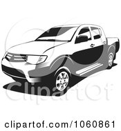 Royalty Free Vector Clip Art Illustration Of A Black And White L200 Pickup Truck by David Rey