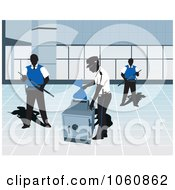 Royalty Free Vector Clip Art Illustration Of Guards By A Safe by David Rey