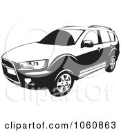Royalty Free Vector Clip Art Illustration Of A Black And White Outlander SUV Car by David Rey