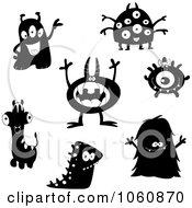 Digital Collage Of Black And White Monsters