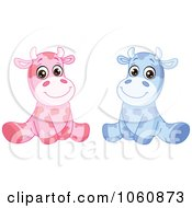 Royalty Free Vector Clip Art Illustration Of A Digital Collage Of Cute Baby Cows Sitting Upright by yayayoyo
