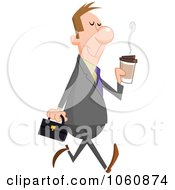 Royalty Free Vector Clip Art Illustration Of A Pleasant Businessman Walking With A Cup Of Coffee