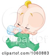 Royalty Free Vector Clip Art Illustration Of A Baby Boy Sitting And Drinking From A Bottle
