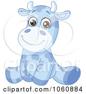 Royalty Free Vector Clip Art Illustration Of A Cute Blue Baby Cow Sitting Upright by yayayoyo
