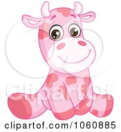 Royalty Free Vector Clip Art Illustration Of A Cute Pink Baby Cow Sitting Upright by yayayoyo