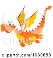 Royalty Free Vector Clip Art Illustration Of A Flying Orange Dragon by yayayoyo