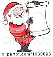Royalty Free Vector Clip Art Illustration Of Santa Holding Up A Blank List