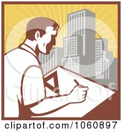 Royalty Free Vector Clip Art Illustration Of An Architect Drafting 2