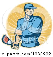 Royalty Free Vector Clip Art Illustration Of A Painter Holding A Brush