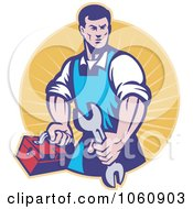 Royalty Free Vector Clip Art Illustration Of A Mechanic Holding A Spanner