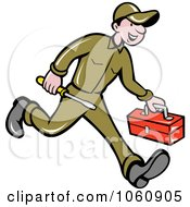 Royalty Free Vector Clip Art Illustration Of An Electrician Running by patrimonio