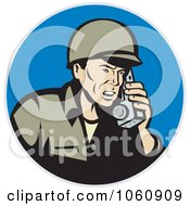 Royalty Free Vector Clip Art Illustration Of A Soldier Using A Field Phone by patrimonio