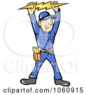 Royalty Free Vector Clip Art Illustration Of An Electrician Holding A Bolt