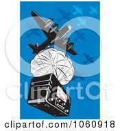 Royalty Free Vector Clip Art Illustration Of A Military Bomber Plane Dropping A Radio by patrimonio