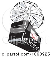 Royalty Free Vector Clip Art Illustration Of A Radio Being Dropped With A Parachute by patrimonio