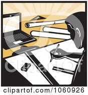 Royalty Free Vector Clip Art Illustration Of An Architect Drafting 1 by patrimonio