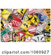 Royalty Free Vector Clip Art Illustration Of A Background Of Traffic Signs 1 by stockillustrations #COLLC1060927-0101