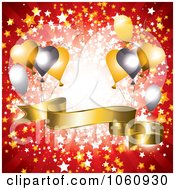 Royalty Free Vector Clip Art Illustration Of A Red Ray Background With A Golden 3d Banner And Party Balloons by MilsiArt
