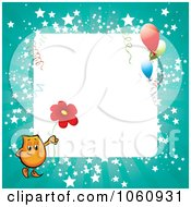 Royalty Free Vector Clip Art Illustration Of An Orange Blinky Holding A Daisy On A Turquoise Starry Frame With Party Balloons