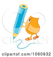 Royalty Free Vector Clip Art Illustration Of An Orange Blinky Character Writing With A Blue Pencil