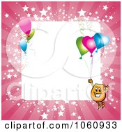 Royalty Free Vector Clip Art Illustration Of A Pink Starry Frame With A Blinky Character And Party Balloons Around White Space