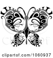 Royalty Free Vector Clip Art Illustration Of A Unique Black And White Butterfly Tattoo Design 1