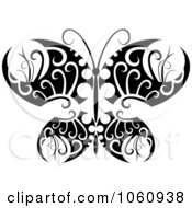 Royalty Free Vector Clip Art Illustration Of A Unique Black And White Butterfly Tattoo Design 7