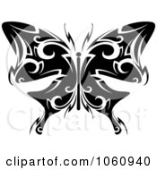 Royalty Free Vector Clip Art Illustration Of A Unique Black And White Butterfly Tattoo Design 5 by Vector Tradition SM