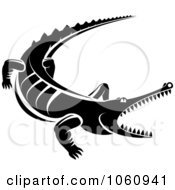 Royalty Free Vector Clip Art Illustration Of A Black And White Snapping Crocodile by Vector Tradition SM