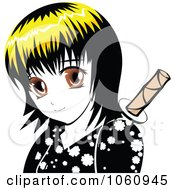 Royalty Free Vector Clip Art Illustration Of A Yellow Haired Manga Ninja Girl by Seamartini Graphics
