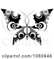 Royalty Free Vector Clip Art Illustration Of A Unique Black And White Butterfly Tattoo Design 2