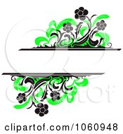 Royalty Free Vector Clip Art Illustration Of A Background Of Black Daisies And Green Foliage And Copy Space