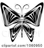 Royalty Free Vector Clip Art Illustration Of A Unique Black And White Butterfly Tattoo Design 6