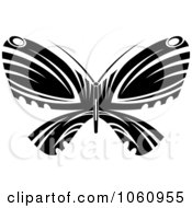 Royalty Free Vector Clip Art Illustration Of A Unique Black And White Butterfly Tattoo Design 4