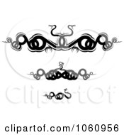Royalty Free Vector Clip Art Illustration Of A Digital Collage Of Black And White Coiled Snake Borders