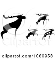Royalty Free Vector Clip Art Illustration Of A Digital Collage Of Black And White Moose by Vector Tradition SM