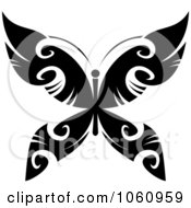 Royalty Free Vector Clip Art Illustration Of A Unique Black And White Butterfly Tattoo Design 3