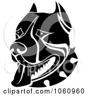 Royalty Free Vector Clip Art Illustration Of A Black And White Guard Dog Face With A Spiked Collar