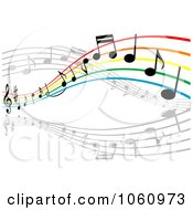 Royalty Free Vector Clip Art Illustration Of A Rainbow Staff And Music Notes 1