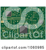 Background Of A Green Circuit Board With Gold Connections - 1