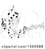 Royalty Free Vector Clip Art Illustration Of A Background Of Staff And Music Notes 11