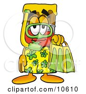 Clipart Picture Of A Paint Brush Mascot Cartoon Character In Green And Yellow Snorkel Gear