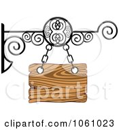 Royalty Free Vector Clip Art Illustration Of A 3d Wooden Store Front Shingle Sign With Wrought Iron