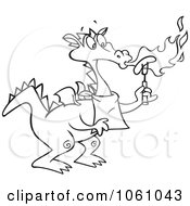 Coloring Page Outline Of A Dragon Blowing Flames And Roasting A Hot Dog
