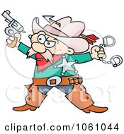Western Sheriff Cowboy Holding A Pistol And Handcuffs