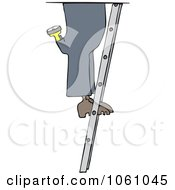 Royalty Free Vector Clip Art Illustration Of A Worker Mans Legs On A Ladder