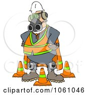 Royalty Free Clip Art Illustration Of A Construction Worker Wearing A Mask And Safety Gear by Dennis Cox