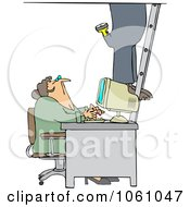 Royalty Free Vector Clip Art Illustration Of A Secretary Checking Out A Worker As He Climbs A Ladder In An Office by djart